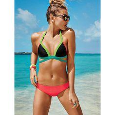 PINK Push-Up Wrap Triangle Top ($16) ❤ liked on Polyvore featuring swimwear, bikinis, bikini tops, print, pink bikini, wrap around bikini, padded bikini top, padded push up bikinis and halter bikini