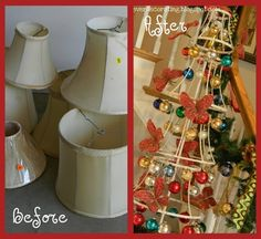 As I paid $1.50 for this lot of lampshades, I knew I was in for a fun project that morphed into this Christmas Shade Tree. I had no intention of lighting the top, but with the smallest and most important shade being a clip on, it occurred to me that it was meant to be lit. Plus I used a 50¢ floor lamp base.