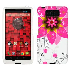 Motorola Droid Ultra Maxx Big Pink Flower on White Phone Case Cover $8.99