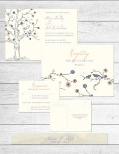 Nature Themed Wedding Stationery Collection by The Print Cafe in Fort Collins, Colorado.  #wedding #invitation #nature #lavender #birds #cream #pink #tree #simple #bridal #invitations #collection #custom #designs #theprintcafe #fortcollins