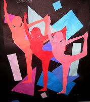 13. Rhythm; The artist uses rhythm in this piece by repeating the cut out of the dancer multiple times. They also use rhythm by repeating the same colors just in different tints.