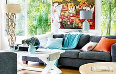 Adding colour to your home is as easy as adding a few cushions and homewares, or painting a wall. House Colors, Cushions, Couch, Wall, Australia, Magazine, Colour, Furniture, Home Decor