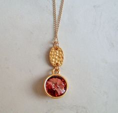Pink Pendant Antique Pink Rivoli Crystal by DKDanglesJewelry