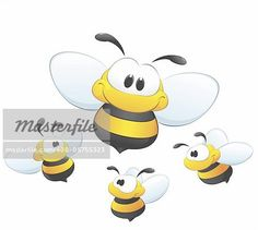 A set of cute cartoon bees. Four isolated bees for design element. Stock Photo - Budget Royalty-Free, Image code: 400-05755323