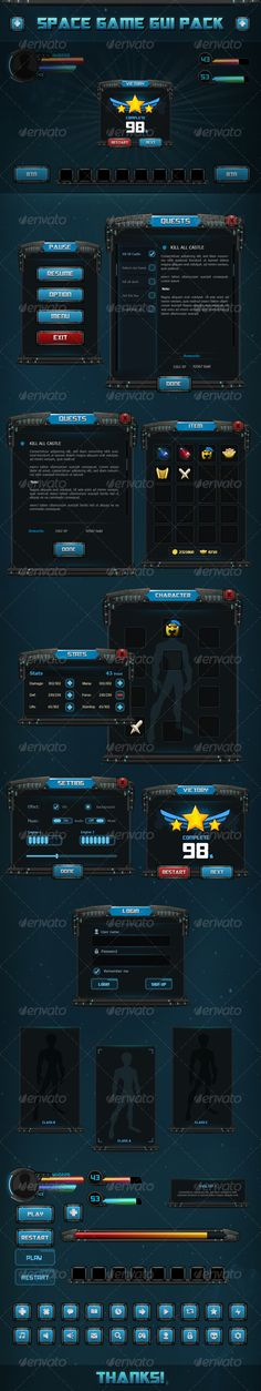 Fantasy - Space game gui Pack Template PSD #design #ui Download: http://graphicriver.net/item/fantasy-space-game-gui-pack-01/8234361?ref=ksioks