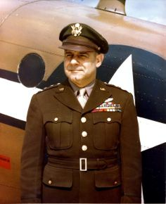 Portrait of General James H. Doolittle (1896 - 1993) standing beside an airplane, circa 1944-45. Flying B-25 medium bombers, he led the Doolittle Raid, the first air raid against targets in Japan during World War II. (Photo by PhotoQuest/Getty Images)