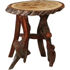 Amish End Tables | Amish Rustic Oval End Table with Driftwood Base ($460) ❤ liked on Polyvore featuring home, furniture, tables, accent tables, oval side table, hand made furniture, driftwood end table, top table and stump furniture