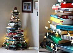 stack of books christmas tree idea