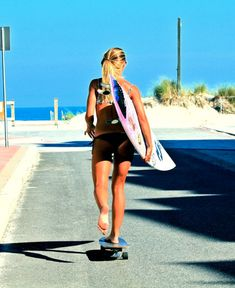 headin' to the beach. surfer chick