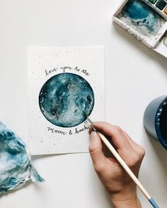 Hailey Kinsey on instagram @hailey.creative I love you to the moon and back artwork, moon painting, moon watercolor, space artwork, galaxy painting, blue moon, outer space artwork, watercolor print, moon watercolor print, watercolor painting, watercolor artwork, moon illustration.