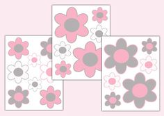 Pink Grey Gray Flower Wall Decals Baby Girl Floral Nursery Art Stickers Decor #decampstudios