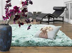 Teppich Wohnzimmer Carpet Hochflor Design PLUSH SHAGGY RUG 100 Polyester 160x230 Cm Rechteckig Trkis