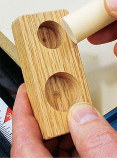 Drill Holes to Make Your Own Home-Made Dowel Gauge. Rockler.com woodworking tools