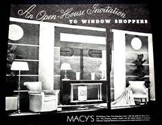 Vintage Original 1935 New York Macys Department Store Window Display Ad Furniture Lamps Black and White Art Deco. $16.00, via Etsy.