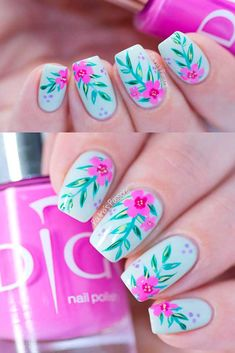 Creative Nail Art Ideas - Soft Tropical Pattern Nail Art Tutorial | Indigo Nails - Fun and Simple Manicures and Nail Art Style Tutorials for Polka Dots, French Tips, Valentines Day and Negative Space Designs - Easy and Cute Styles with Glitter and Gel - Works Great For Spring and Summer as well as Fall - Step By Step Tutorials with Crazy Designs With Rhinestones - https://thegoddess.com/creative-nail-art-ideas
