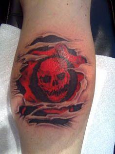 My Gears Of War tattoo Manny at East Bay Tattoo in Brentwood . Gamer Tattoos, 3d Tattoos, Love Tattoos, Body Art Tattoos, Tattoos For Guys, Tatoos, War Tattoo, Sick Tattoo, Skyrim Tattoo