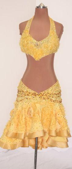 Yellow 2 Piece w/ Strands of Beads around skirt