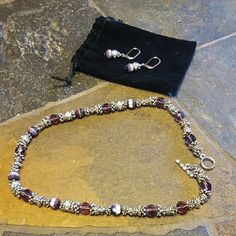 Purple & Silver Set 1 pair of earrings with matching necklace   Perfect bundle item! Jewelry Necklaces