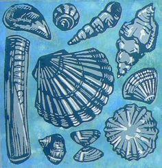 Shells lino cut print £16.00