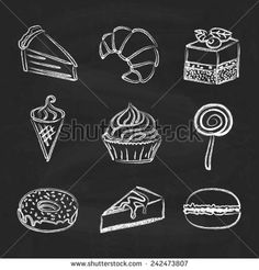 Hand drawn icon set - sweets and cakes on chalkboard background - stock vector Chalkboard Cake, Blackboard Art, Kitchen Chalkboard, Vintage Chalkboard, Chalkboard Drawings, Chalkboard Lettering, Chalk Drawings, Chalkboard Background, Icon Set