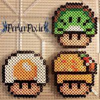 Food Mushrooms (kiwi, fried egg, taco) perler beads by PerlerPixie Perler Bead Mario, Diy Perler Beads, Pearler Beads, Pixel Art, Pixel Beads, Fuse Beads, Hama Beads Patterns, Beading Patterns, Art Perle