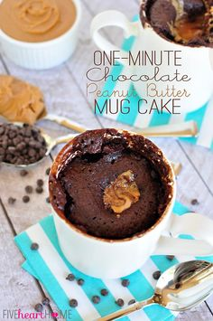 One-Minute Chocolate Peanut Butter Mug Cake ~ warm, gooey, chocolate cake with a molten peanut butter center, ready in a flash! | FiveHeartHome.com