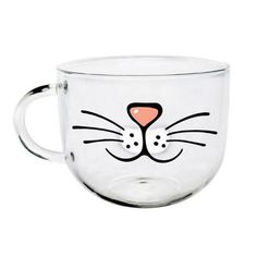 Brighten up your morning with these cute and quirky cartoon mugs. Makes a great gift for any cat lover! Capacity: 550mL Dimensions: 10 x 8cm Material: Glass Microwave and oven safe - can withstand up