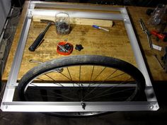It was important to use two front tires for the bike trailer because they had the same spacing of about 3.5 inches.
