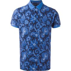 Etro allover print polo shirt ($390) ❤ liked on Polyvore featuring men's fashion, men's clothing, men's shirts, men's polos, blue, mens blue polo shirts, etro men's shirts, mens polo shirts, men's all over print t shirts and mens blue shirt