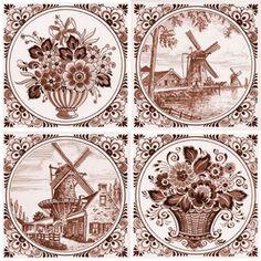"""Фландрия"" - Вставка декоративная 200х200 Windmill Art, Blue Art, Delft, Ceramics, Cards, Painting, Windmills, Style, Porcelain"