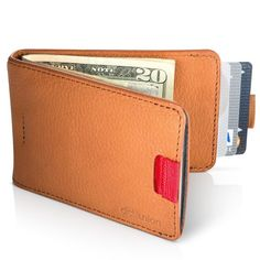 Distil Union Wally Bifold Slim Leather Wallets for Men - Money Clip, Credit Card Holder, Billfold (Cowboy Brown)