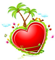 Treat your valentine to this delightfully tropical heart brimming with palm trees and flowers.
