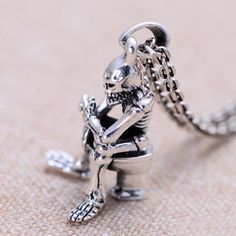 "Men's Sterling Silver Skull Thinker Necklace with Sterling Silver Anchor Link Chain 18""-30"""
