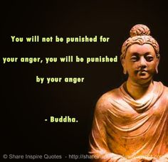 You will not be punished for your anger, you will be punished by your anger - Buddha. #life #anger #quotes