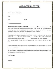 Much Like The Job Or Employment Agreement, A Job Offer Letter Template, Is A  Charity Proposal Template
