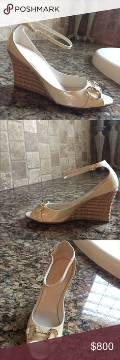 Gucci wedges Gucci cream colored leather wedges worn twice Gucci Shoes Wedges