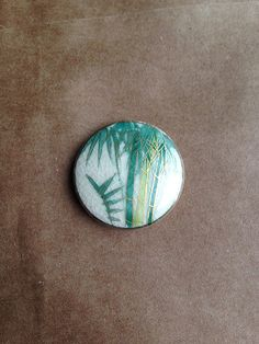 Vintage Porcelain Bamboo Satsuma Button Pendant