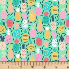 Dear Stella Life's A Beach Pineapple Dream Multi from @fabricdotcom  From Dear Stella Designs, this fun cotton Print fabric, features a beach and summer theme. It is perfect for quilting, apparel, and home decor accents. Colors include navy, pink, red, coral, white, yellow, peach, and green on a mint green background.