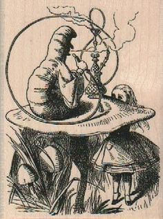 rubber stamp Alice and caterpiller smoking pipe by pinkflamingo61, $6.00
