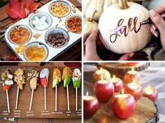 Your friends won& be able to stop talking about these fall party ideas for food, games, decorations, and more. The caramel apple bar and pumpkin signs. Fall Birthday Parties, Thanksgiving Parties, Birthday Ideas, Fall Themed Parties, 80th Birthday, Thanksgiving Crafts, Thanksgiving Decorations, Caramel Apple Bars, Caramel Apples