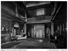 Interior of Oak Point, the Delano & Aldrich designed playhouse to 'Oak Point', the Harrison Williams estate enlarged by D&A c. 1926 in Bayville. Pictured is the playhouse after Harrison's wife Mona had repurposed it as their private residence. The playhouse was demolished in 1968.