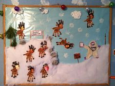 Reindeer tryouts winter bulletin board. I cut the fur from an old stuffed animal to make the abominable snowman