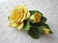 Hair barrette polymer clay flower. Yellow rose by FloraAkkerman, $30.00