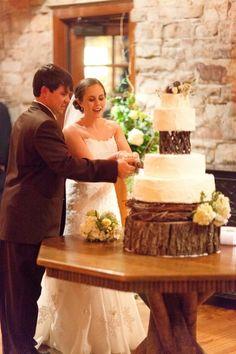 Bride & Groom With Rustic Wedding Cake - Wedding Inspirations