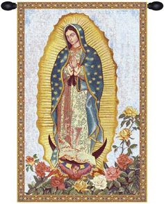 Woven in Belgium History: Guadalupe is a jacquard woven wall tapestry made in Belgium. The image is inspired from the celebrated pictorial image housed in the B