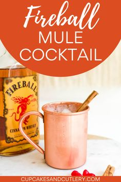 Spice up your Valentine's Day with a Fireball Mule! This Moscow Mule made with cinnamon whiskey is sweet and bold with a kick! It's a fun holiday cocktail idea to share with your partner. Drinks Alcohol Recipes, Cocktail Recipes, Alcoholic Drinks, Beverages, Moscow Mule Recipe, Moscow Mule Mugs, Moscow Mule Variations, Cinnamon Whiskey, Copper Mugs