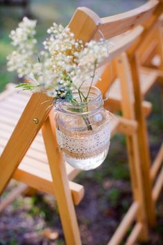 aisle decor: burlap + lace