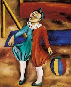 María Izquierdo (Mexican painter) 1902 - 1955 Payaso (Clown), 1945  oil on canvas 55 x 45 cm Museo Andrés Blaisten, Mexico