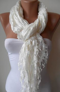 Creamy White  Scarf with Trim Edge by SwedishShop on Etsy, $19.90