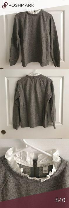 J. Crew Ruffle Collar Sweatshirt EUC J. Crew ruffle collar sweatshirt! Size small. Style number 04834 J. Crew Tops Sweatshirts & Hoodies